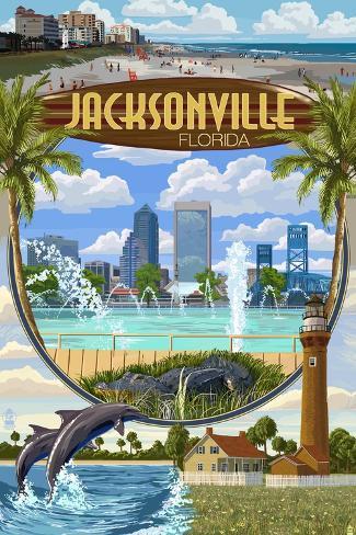 Jacksonville, Florida - Montage Scenes Art Print