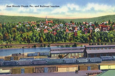 Jim Thorpe, Pennsylvania - View of East Mauch Chunk and Rr Junction Art Print