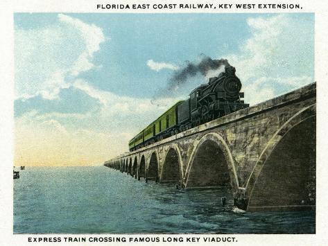 Key West, Florida - Long Key Viaduct Train Crossing Scene Art Print