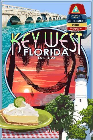Key West, Florida - Montage Art Print