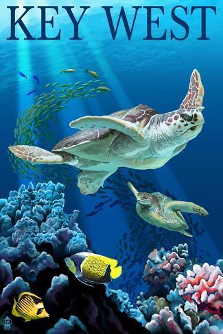 Key West, Florida - Sea Turtles Art Print