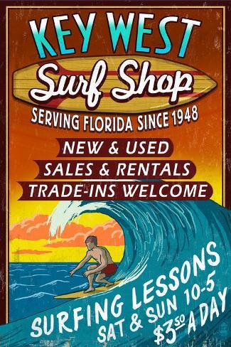 Key West, Florida - Surf Shop Art Print
