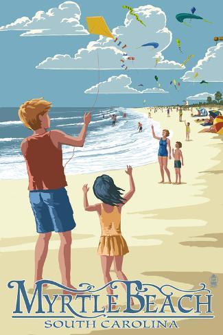 Kite Flyers - Myrtle Beach, South Carolina Art Print