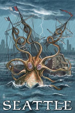 Kraken Attacking Ship Seattle Print By Lantern Press At
