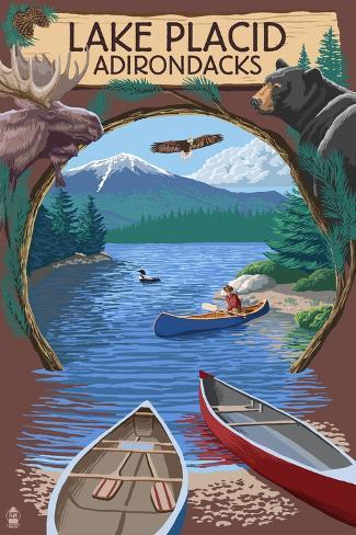 Lake Placid, New York - Adirondacks Canoe Scene Art Print