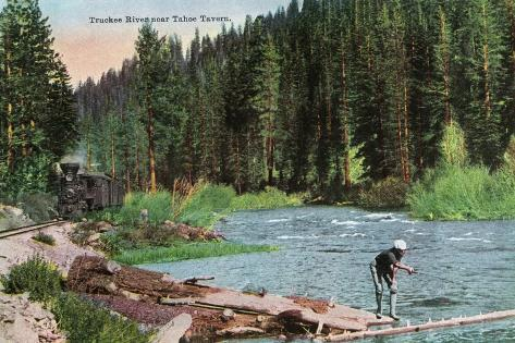 Lake Tahoe, California - Truckee River Near Tahoe Tavern Scene Art Print