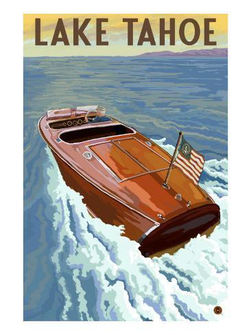 Lake Tahoe, California - Wooden Boat Art Print