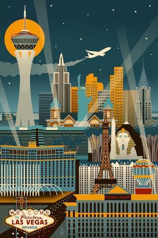 Las Vegas, Nevada - Retro Skyline (no text) Art Print