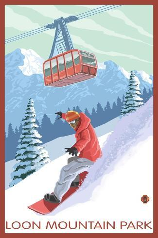 Loon Mountain Park - Snowboarder and Tram Art Print