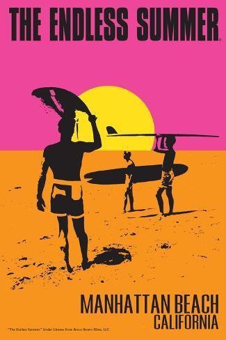 Manhattan Beach, California - the Endless Summer - Original Movie Poster Impressão artística