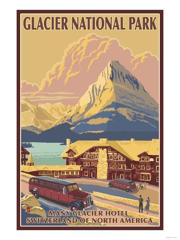 Many Glacier Hotel, Glacier National Park, Montana Art Print