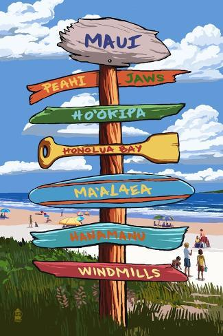 Maui, Hawaii - Destination Signpost (Version 2) Art Print