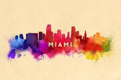 Miami, Florida - Skyline Abstract Art Print