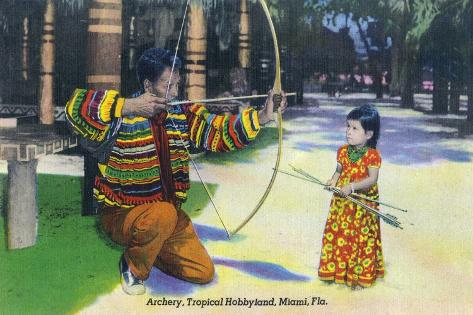 Miami, Florida - Tropical Hobbyland; Seminole Dad Showing Daughter Archery Stampa artistica