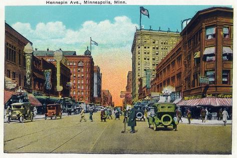 Minneapolis, Minnesota - View Down Hennepin Avenue Art Print