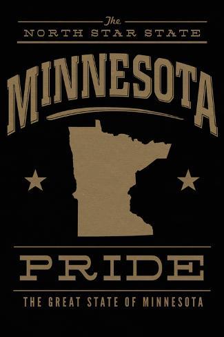 Minnesota State Pride - Gold on Black Art Print