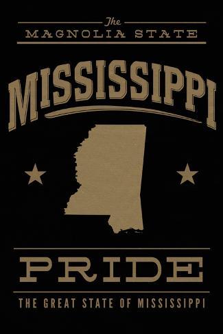 Mississippi State Pride - Gold on Black Art Print