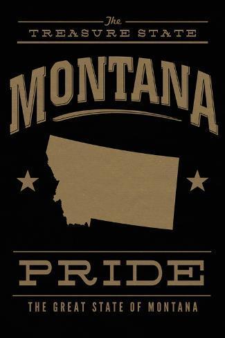 Montana State Pride - Gold on Black Premium Giclee Print