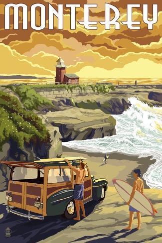 Monterey, California - Woody on Beach Art Print
