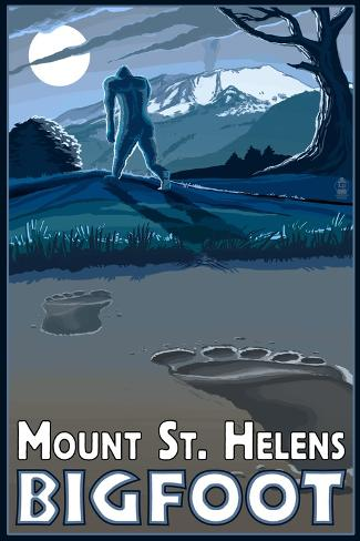 Mount St. Helens - Bigfoot Scene Art Print