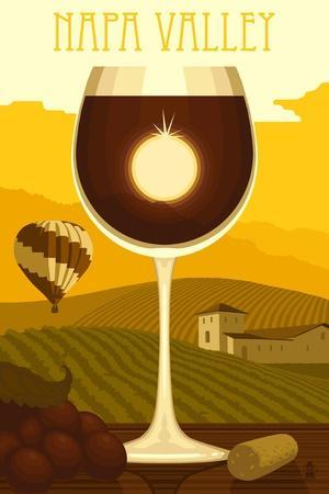 Napa Valley, California - Wine Glass and Vineyard Posters by Lantern Press  at AllPosters com