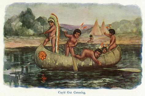 Native American Children in a Canoe Art Print