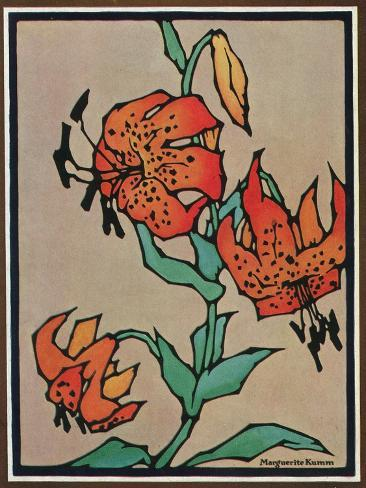 Nature Magazine - Sketch of Tiger Lilies, c.1930 Art Print