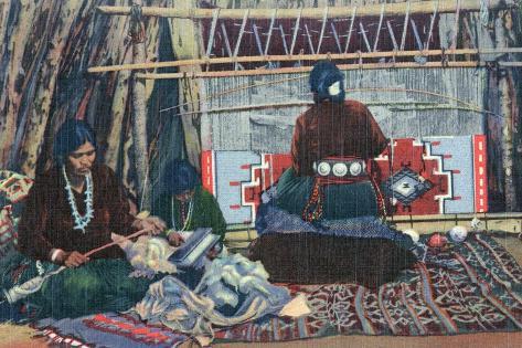 Navajo Ladies Weaving Rugs Art Print