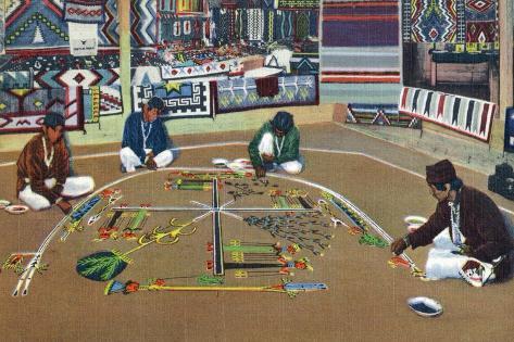 Navajo Yebashi Ceremony, Whirling Log Sand Painting Stampa artistica