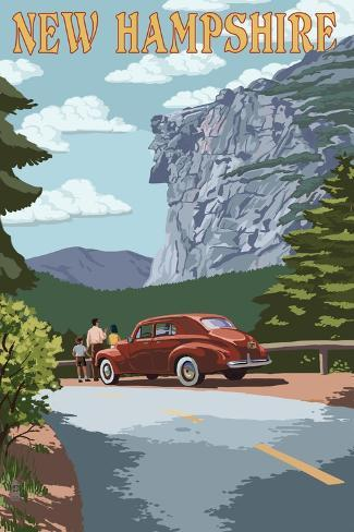 New Hampshire - Old Man of the Mountain and Roadway Art Print