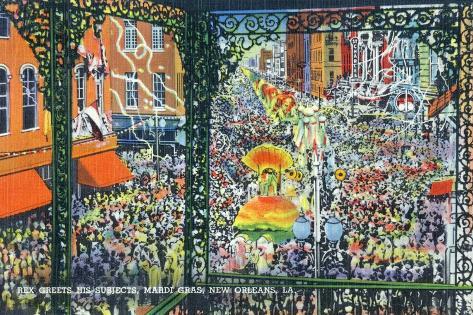 New Orleans, Louisiana - Mardi Gras Parade; Rex Greets Subjects Art Print