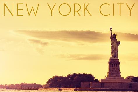 New York City, New York - Statue of Liberty and Yellow Skyline Art Print
