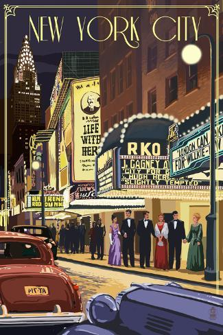 New York City, New York - Theater Scene Art Print