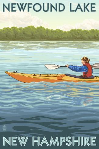 Newfound Lake, New Hampshire - Kayak Scene Art Print