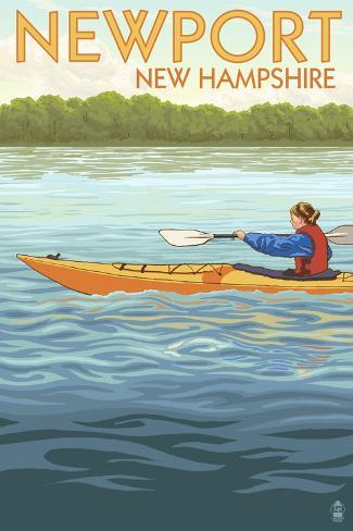 Newport, New Hampshire - Kayak Scene Art Print