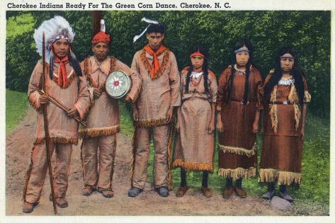 North Carolina - Cherokee Indians Ready for Green Corn Dance Art Print