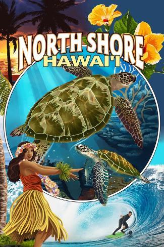 North Shore, Hawaii - Montage Art Print