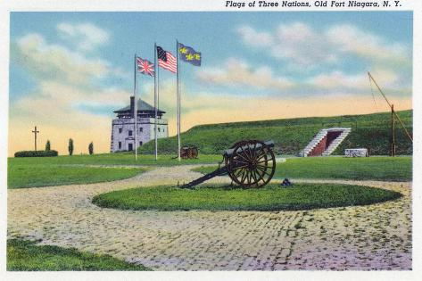 Old Fort Niagara, New York - View of the American, British, & French Flags Premium Giclee Print