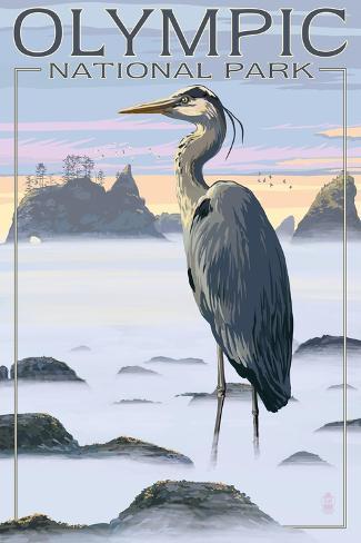 Olympic National Park - Heron and Fog Shorline Art Print