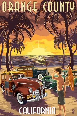 Orange County, California - Woodies and Sunset Art Print