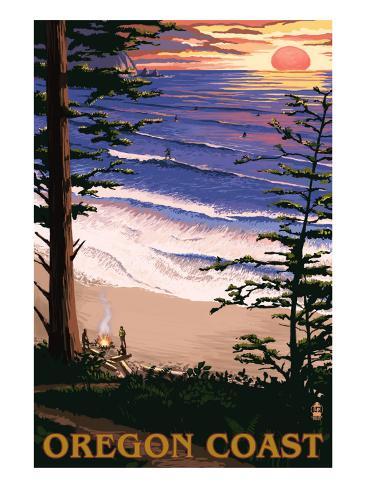 Oregon Coast Sunset Surfers Art Print