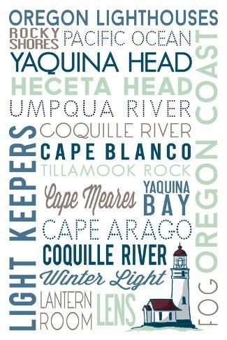 Oregon - Lighthouse Typography Art Print