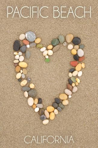 Pacific Beach, California - Stone Heart on Sand Art Print