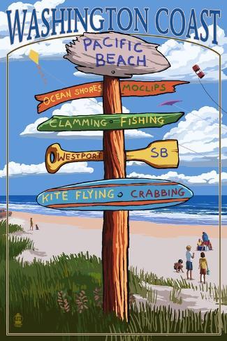 Pacific Beach, Washington - Washington Coast - Signpost Destinations Art Print