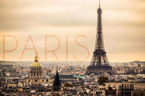 Paris, France - City Aerial View and Eiffel Tower Art Print