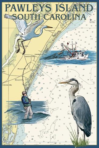 Pawleys Island, South Carolina - Nautical Chart Art Print