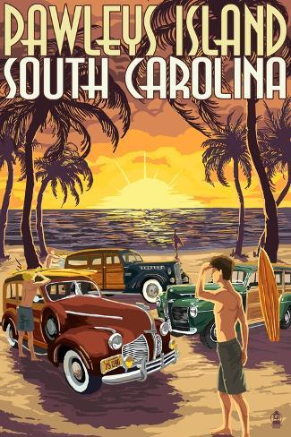 Pawleys Island, South Carolina - Woodies on Beach Art Print