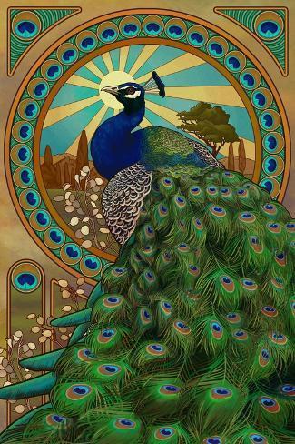 Peacock - Art Nouveau Poster by Lantern Press at ...