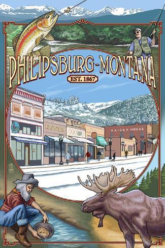Philipsburg, Montana Montage Art Print