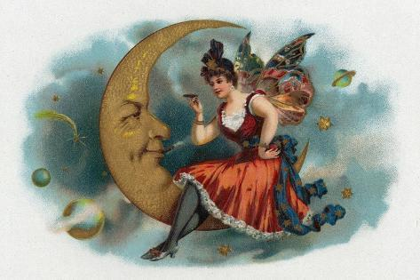 Picant Brand Cigar Box Label, Fairy Woman Smoking on the Moon Art Print